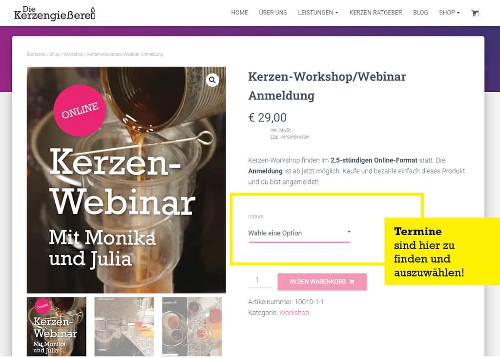 Kerzen Workshop Webinar Anmeldung über Website